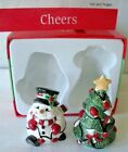 Fitz and Floyd CHEERS Christmas Tree Snowman Salt & Pepper UNUSED Original Box