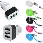 Quick Charge Type C USB 3 Ports Car Charger+Cable For Samsung Galaxy Note 7 Lot