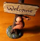 Faux Wood Carved MOOSE HOLDING LODGE WELCOME SIGN Log Cabin Home Decor Figurine