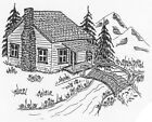 Unmounted Rubber Stamps Mountain Cabin Scenic Stamps Old Log Cabin Mountains
