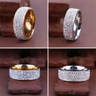 Men Women Stainless Steel Crystal Band Ring Gold Silver Wedding Band Ring Sz8 10