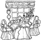 Unmounted Rubber Stamps Cute Whimsical Tea Party Window Tea Set Art Stamps