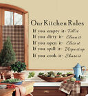 Our Kitchen Rules Quotes Vinyl Art Wall Stickers Decals Decor Removable YY07