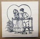 Mounted Rubber Stamps Valentines Day Hearts Victorian Couple at Fence Love