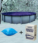 12 Round Above Ground Winter Pool Cover + 4x4 Air Pillow + Winterizing Kit