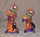 Fitz and Floyd Halloween Witch Hazel Tall Candleholder Set of 2 Witch