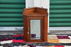 Lovely Oak Wall Corner Cabinet with Beveled Mirror Ca.1900