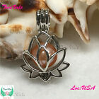 Silver Pearl Cage Pendant Lotus Flower Fun Gift