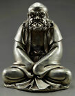 Collectible Old Handwork Silver Plate Copper Carve Bodhidharma Buddha Statue