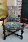 Antique French Carved Walnut Fireside Dining Arm Chair Tapestry Unicorn