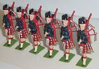 Old BRITAINS 1950s Lead, British Scots Guards Pipers, 6 Pieces From Set #1722