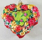 CHRISTOPHER RADKO ROSE HEART FLORAL BLOWN GLASS ORNAMENT COLORFUL RARE
