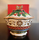 FITZ AND FLOYD CLASSICS JOLLY OLE ST. NICK LIDDED VEGETABLE BOWL ORIGINAL BOX