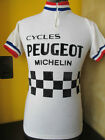 PEUGEOT proteam FRENCH TRIMS TDF 1976 81 VINTAGE ACRYLIC CYCLING JERSEY Sz M L