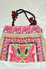Heavily Embroidered HMONG Pink Tote BagThailand Fiar Trade Pom Poms on Straps