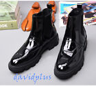 Mens Stylish Ankle pull on Platform Low Heels Boots Patent Leather shoes Vintage