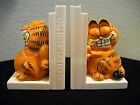 GARFIELD AT LARGE Porcelain Bookends Enesco Vintage 1978-1981 Series Mint