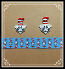 Dr SEUSS CAT IN THE HAT Hair Bow Supply Set 2 yd Ribbon and 2 Flatback Resin