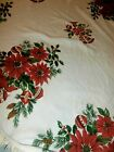 VTG 64 ROUND christmas tablecloth pointsettia ornaments fringe holiday