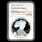 1990 S AMERICAN SILVER EAGLE DOLLAR COIN NGC GRADED PROOF PF 69 ULTRA CAMEO