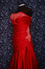 Forever Yours 48206 Red Satin Mermaid wrap Strapless Wedding Bridal Dress 14 NWT