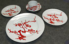 5 PC FITZ and FLOYD PRUNIER DE CHINE RED POSITIVE PLACE SETTING, MINT