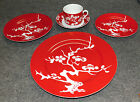 5 PC FITZ and FLOYD PRUNIER DE CHINE RED NEGATIVE PLACE SETTING, MINT