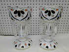 Pair Old Bohemian Floral White cut to Green Case Glass Crystal Prism Luster