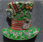 Heidi Daus Mad Hatter Crystal and Enamel Pin Brooch Alice Looking Glass Pin