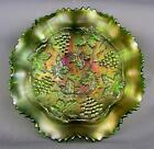 CARNIVAL GLASS NORTHWOOD GRAPE  CABLE STIPPLED VARIANT Green Ruffled 9 Bowl