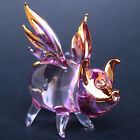 Pig Wings Flying Figurine Purple Pink Gold Blown Glass