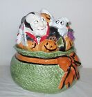 Fitz & Floyd Halloween Trick or Treats Bag Sack Cookie Jar w/Witch Vampire Ghost