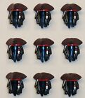 x9 NEW Lego Tricorne Pirate Hats JACK SPARROW Minifig Parts w/ HAIR