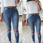 US Stock Womens Denim Skinny Ripped Pants High Waist Stretch Jeans Slim Trousers