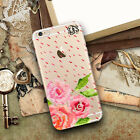 Personalized plastic iPhone case Rubber bumpers Pink roses and raindrops cute