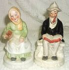 Vintage Bisque Figurines of Old lady and Old Man Seated Pair.  Nice