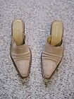 WOMANS SIZE 10 M CHILIS BEIGE LEATHER SUEDE WESTERN SLIP ON MULES/SHOES