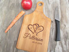 Custom Engraved Bamboo Wood Persoanlized Cutting Board Monogram Linked Hearts 2