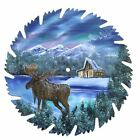 Hand Painted Saw Blade Art Mountain Northern Lights Log Cabin and Moose OOAK