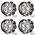 Set 4 16 Vision 375 Warrior Black Machined Wheels 16x8 6x45 12mm Dodge 6 Lug