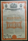 1000 St Louis San Francisco Railway CoFrisco bond stock certificate