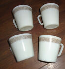 Vintage CORELLE Coffee CUPS Mugs WOODLAND BROWN Lot of 4 MILK Glass WHITE Pyrex