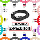 2 Pack USB C Cable 10FT Long Charging Charger Cord 10 Foot For Type C Phones