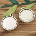 4 dark silver tone circle picture frame charms h3033