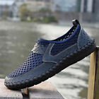 Mens Driving Slip on Loafers Leather Summer Shoes Breathable Mesh Casual Shoes