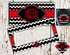 Monogrammed car decoration Red and black chevron Cute auto decor Gifts for her