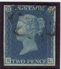 1840 2d Deep Full Blue Plate 1