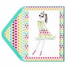 PAPYRUS Greeting Card Happy birthday Sassy Queen Gal with Multi Color Border