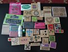 Rubber Stamp LOT 35+ Rubber Stamps Hearts Christmas Halloween MORE NEW USED