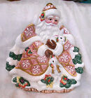 Fitz & Floyd SNOWY WOODS CHRISTMAS SANTA PLATE w  Rabbits - Victorian Pink Decor